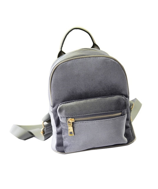 Women Small Backpack Student Fishion Mini Velvet Zipper bag High Quality Casual Small light Girl School bag Simple Style