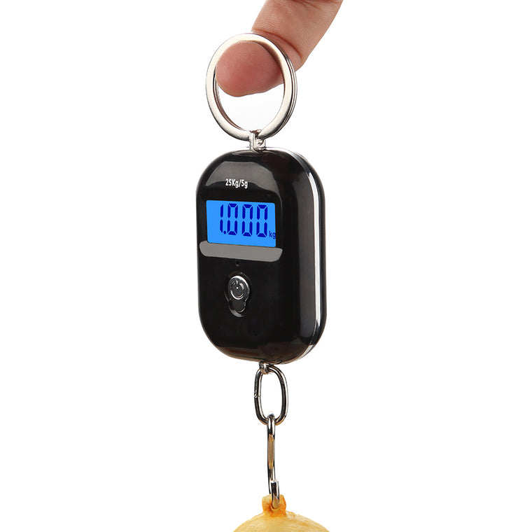 25Kg x 5g Digital Hanging Scale Mini Electronic Luggage Hook Scale LCD Backlight Kitchen Steelyard