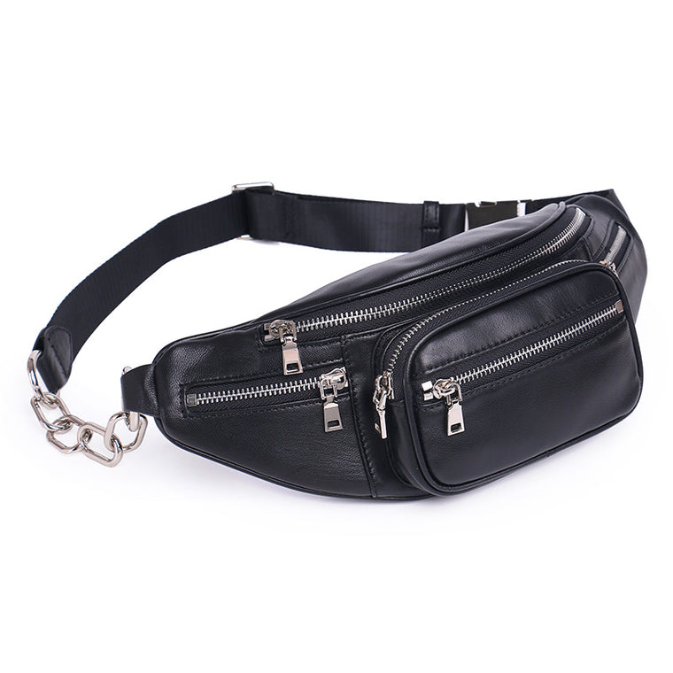 waist Pocket bag genuine leather sheepskin shoulder bag lady black chestcrossbody bags