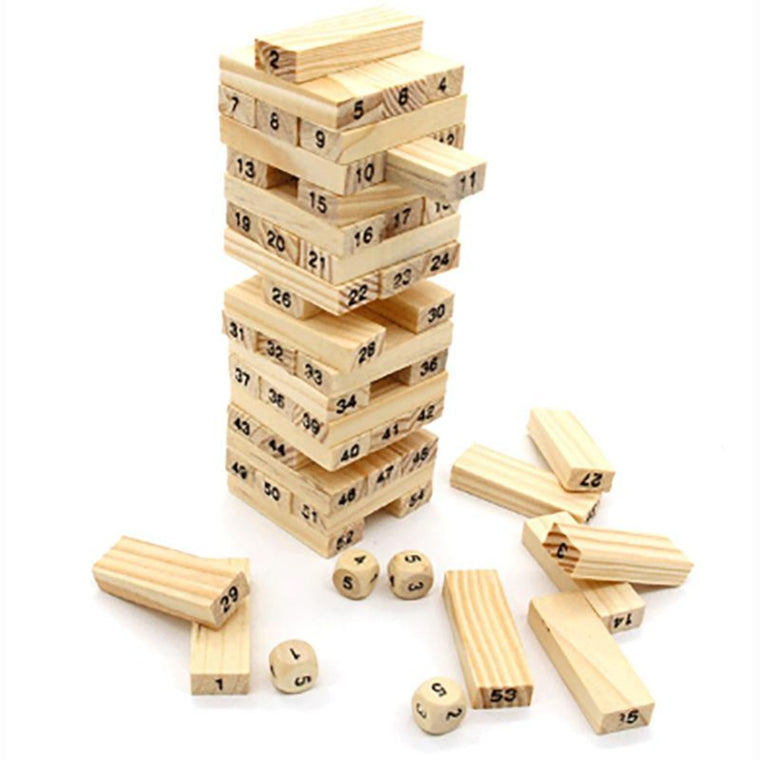 54 PCS/Set Small Size Digital Jenga Puzzle Board Game Family/Party Best Gift for Children Funny Building Blocks Game