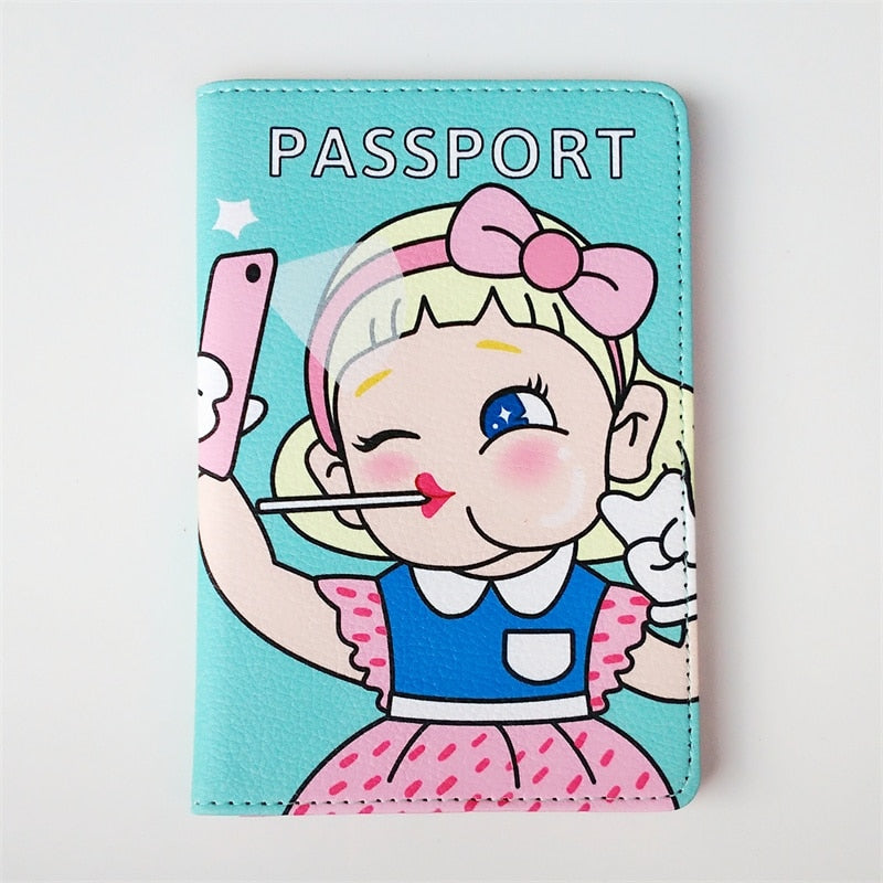 Mobile phone selfie PU Leather Passport Cover Women Passport Holder Travel ID Card Wallet Credit Card Holder For girls and kids
