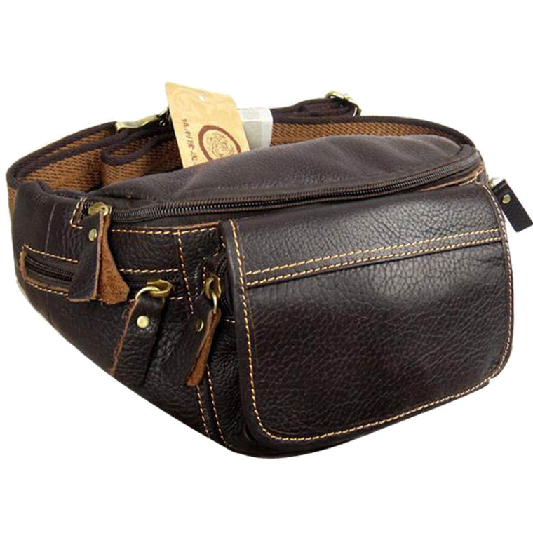 Hot Genuine leather male big capacity waist pack mobile phone bag real  cowhide messenger bags for a99ded20aa