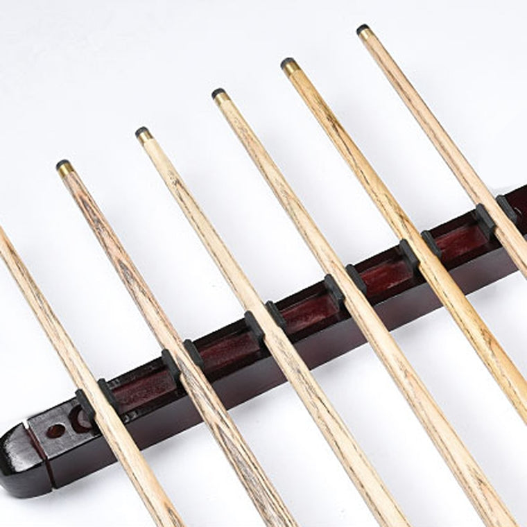 1 Set Billiard Pool Snooker Table Wall Mount Hanging Professional 6 Cue Sticks Solid Wood Rack Holder 39 x 4 x 3cm