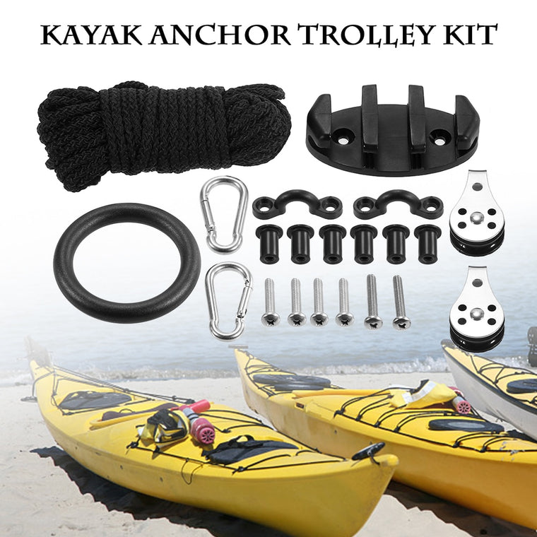 21PCS Kayak Canoe Anchor Trolley Kit Padd Eyes Wellnuts Screws Kayak Accessories Zig Zag Cleat Rigging Ring Pulleys DIY Boat