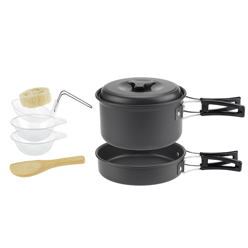8 pcs outdoor cookware Aluminium Alloy camping pot utensil cooking tools set pot pan bowl Plate for cooking picnic tableware