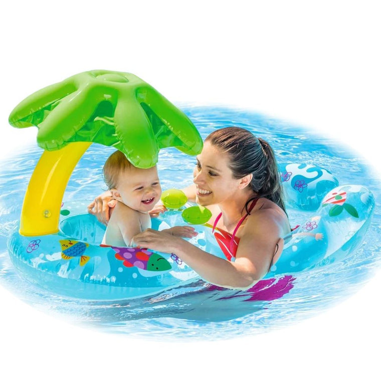 Inflatable Swimming Ring Baby Infant Pool Float Toys With Canopy Sea Mattress Beach Party Kids Adults Flamingo Unicorn Donu