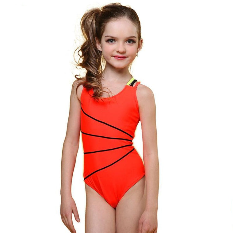 Swimsuit Girls One Piece Swimwear Solid Bandage Bodysuit Children Beachwear Sports Swim Suit Bathing Suit AK8675