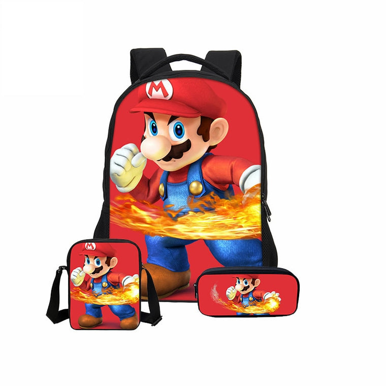 3pcs/Set VEEVANV School Bag Super Mario Printing Backpack Children Combination Bookbag Fashion Boy School Backpack Daily Mochila