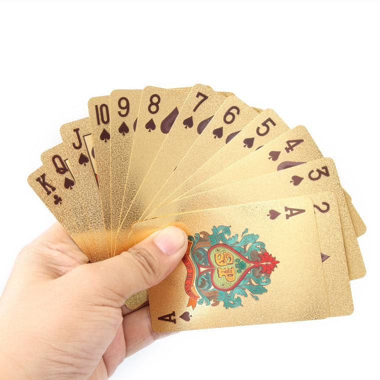 Certificate Pure Bright Novelty Gold Foil Plated Poker Playing Cards 52 Cards & 2 Jokers Gift Table Games Gambling Card Gift