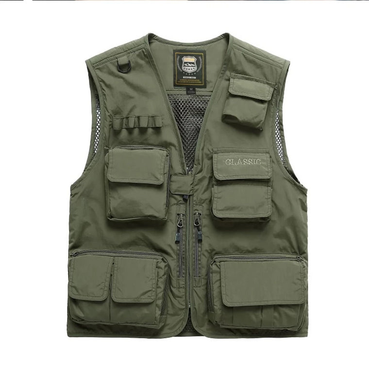 MANLI Men Multi-pocket Vest Men Quick Dry Thin Mesh Photography Vests Male Multifunction Outdoors Fishing Waistcoat Cargo Coats