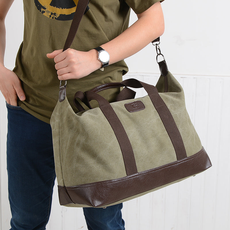 Brand Canvas&Leather Casual Large Travel Bag Duffle Unisex Handbag Cross Body Shoulder Bag Messenger Bags Men&Women
