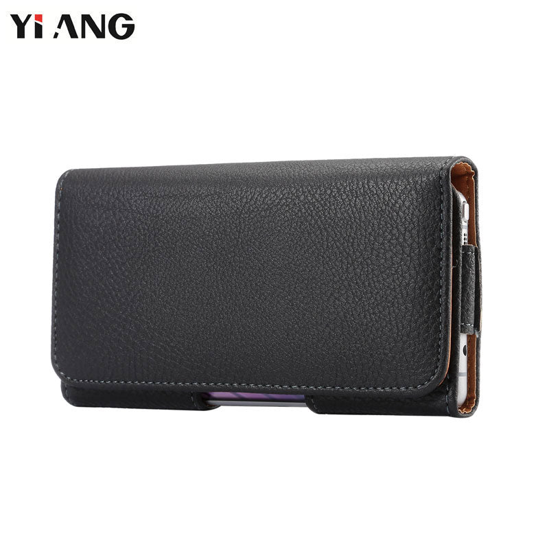 YIANG Brand 3.5~6.4 inch Men Waist Packs Phone Pouch Bags Hook Loop Belt Clip Case Waist Bag Litchi Grain Mobile Phone Bags
