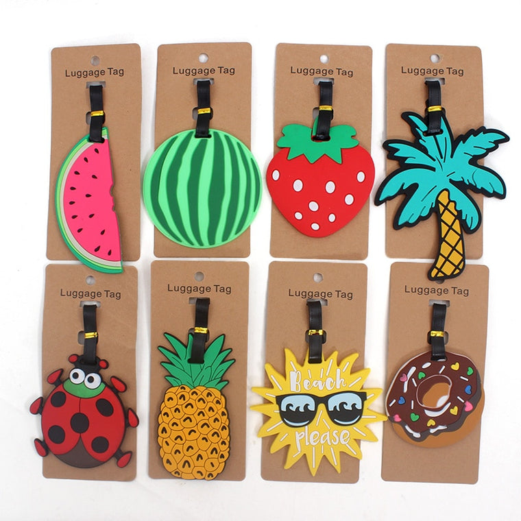 Fashion Fruits Travel Accessories Creative Luggage Tag Silica Gel Suitcase ID Addres Holder Baggage Boarding Tags Portable Label