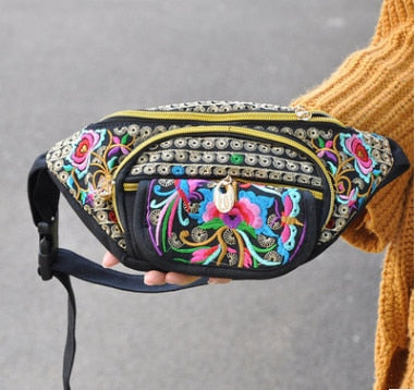 New Floral Embroidery Women Waist bags!Hot All-match Vintage embroidery Carrier canvas waist packs traveller portable Shopping