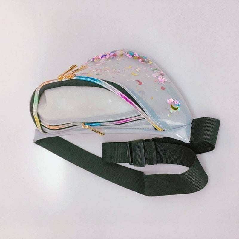waist pack 2018 new fanny pack women's handbags Laser purse translucent reflective chest waist bag women belt bag waist leg bag