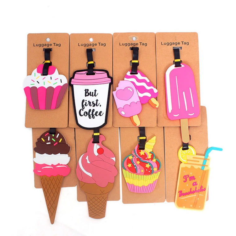 Cute Ice Cream Travel Accessories Creative Luggage Tag Silica Gel Suitcase ID Addres Holder Baggage Boarding Tags Portable Label