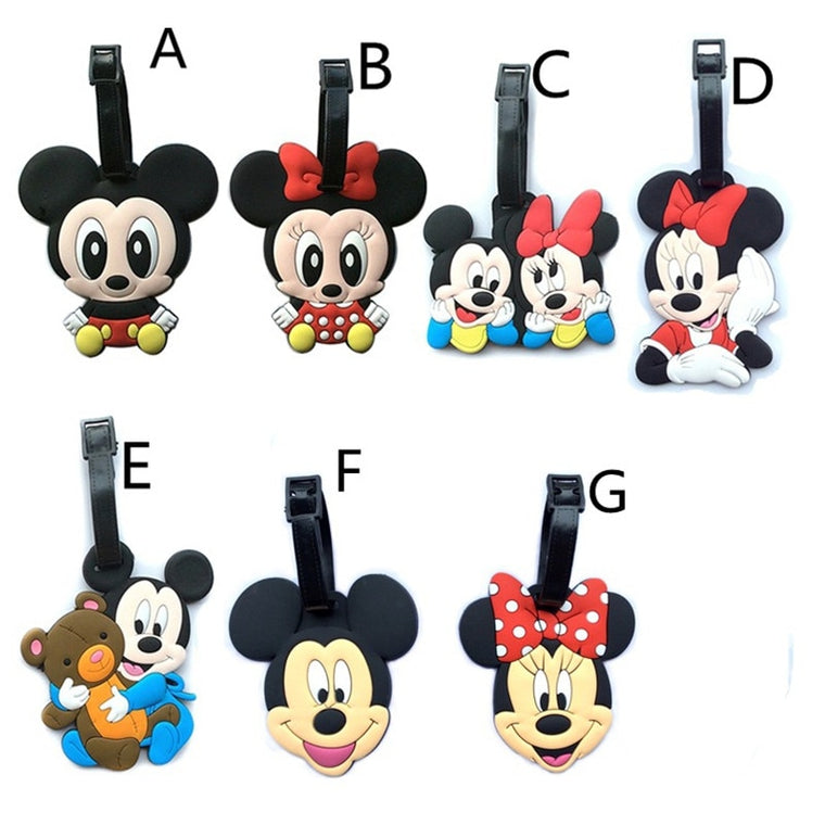 Kawaii Mickey and Minnie Suitcase Luggage Tag Cartoon PVC ID Address Holder Baggage Label Silicone Identifier Travel Accessories