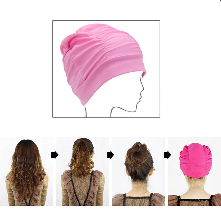 Ultrathin Protect Ears Long Hair Stretch Elastic Swim Pool Women Swimming Cap Nylon Hat Free Size For Ladies Female Bathing Cap