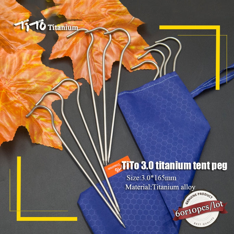 TiTo 10pcs/6pc Titanium Tent PegS Titanium tent nail Outdoor Camping Tent Accessory tent stake Bend Hook Head Diameter 3.0mm
