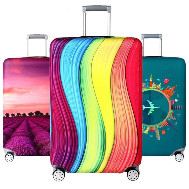 3D Colorful Skull Guitar Print Luggage Protector Travel Luggage Cover Trolley Case Protective Cover Fits 18-32 Inch
