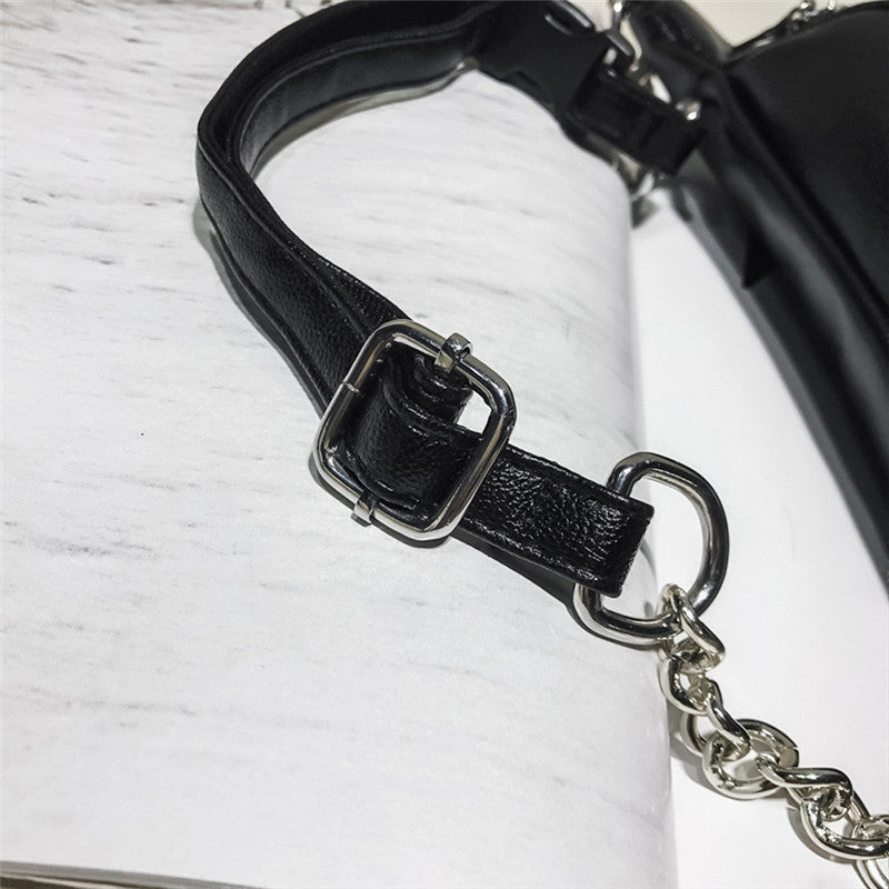 Fashion Chain PU Lychee Leather Chain Fanny Pack Waist Bag Casual Waterproof Antitheft Women Walking Shopping Band belt bags