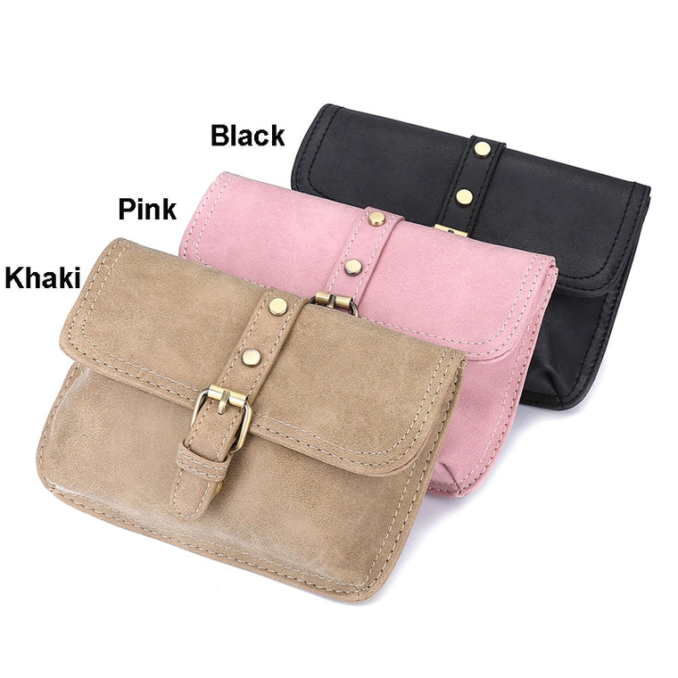 Jiessie & Angela Vintage Style Women Leather Belt Bag Brand Designer Women Waist Bag Hand Free Bags Lady Pouch Belt Waist Pack