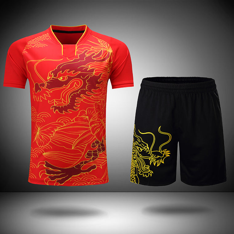 Free Printing CHINA Dragon table tennis sets Men or Women ,  ping pong wear , Dry-Cool table tennis clothes , table tennis suits
