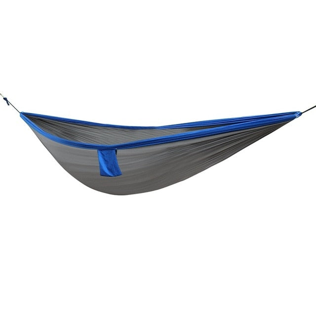Portable Outdoor Hammock Hanging Bed Nylon Fabric Sleeping Bed + Mosquito Net Tactical Large Load Traveling Camping Hammock