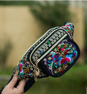Fashion National embroidery Wonen Waist bags!Nice Vintage Ethnic Floral Embroidered arm waist packs Lady Canvas Bohemian Carrier