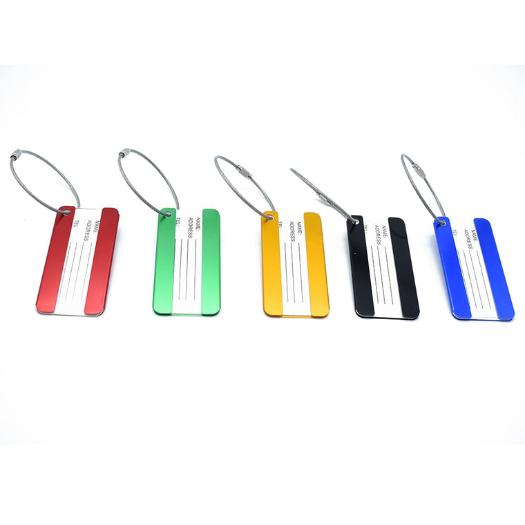 ISKYBOB 1 PC Aluminium Luggage Tags Suitcase Label Name Address ID Bag Baggage Tag Travel