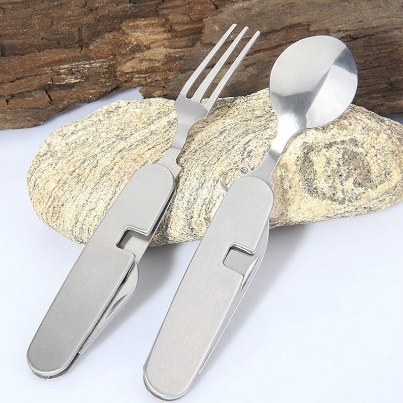 Bottle Opener Cutlery Set Tableware Camping Convenient Kits Spoon Fork Outdoor