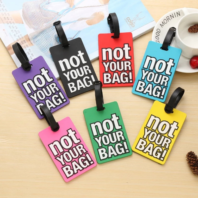 Luggage Tags PU Leather Tags Suitcase Labels Travel Bag With Privacy Cover Gym Graffiti Style Cartoony Creative Pattern Printing 2pcs