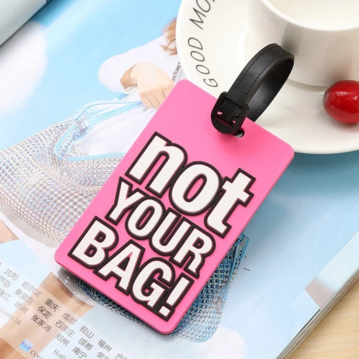 "Creative Letter ""Not Your Bag"" Cute Travel Accessories Luggage Tags Suitcase Cartoon Style Fashion Silicon Portable Travel Label"
