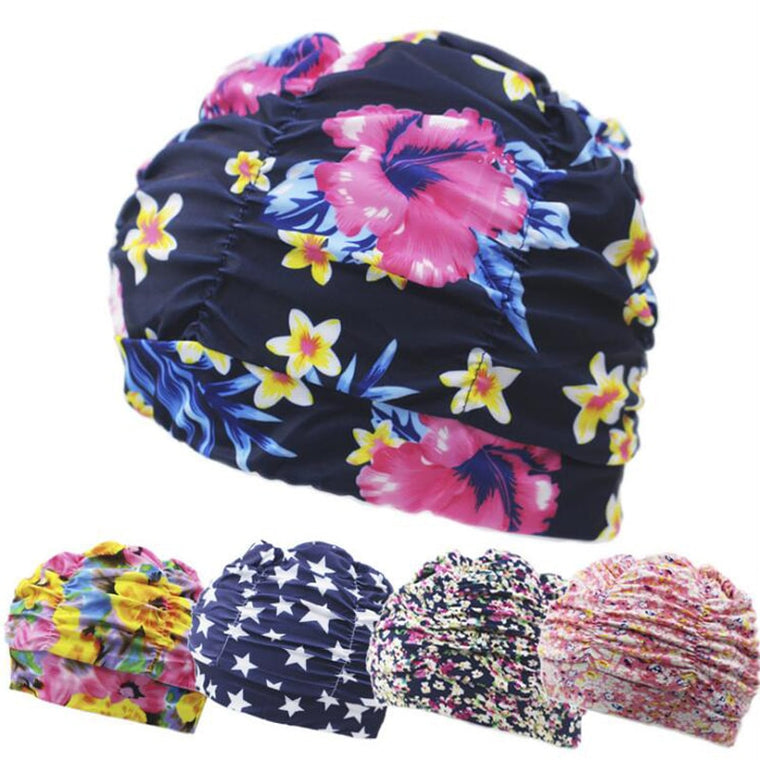Pleated Flower Petal Prints Fabric Swimming Cap Swim Pool Beach Surfing Protect Long Hair Ears Caps Hats Plus Size for Women Men