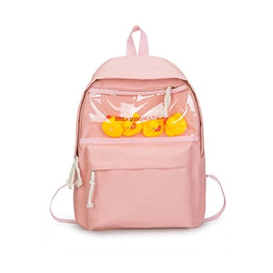Black Oxford Women Backpack Transparent Ita Student Schoolbags Printed Letter 20-35 Litre Women Travel School Backpack Book Bags