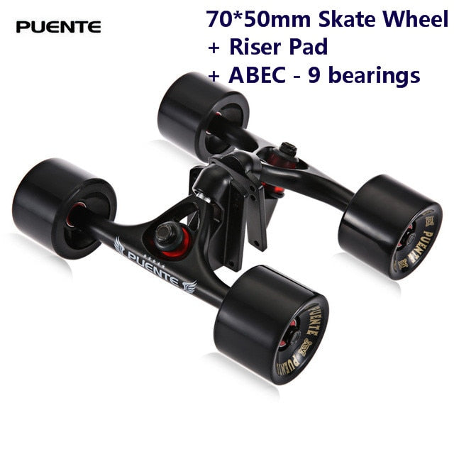 Puente 2pcs / Set Skateboard Truck With 70*50mm Skate Wheel + Riser Pad + ABEC - 9 bearings  Installing Tool for Skateboard