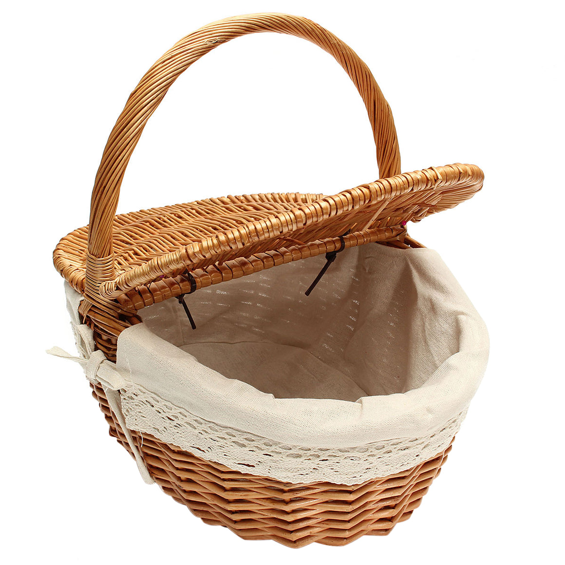 Wicker Willow Picnic Basket Hamper Shopping Basket with Lid and Handle and White Liner for Camping