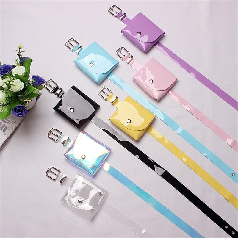 Mihaivina Fashion Women Waist Packs Casual Female PVC Purple Belt Bags Girl's Fanny Pack Mini Bags For Women Dress 7 Colors