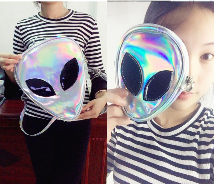 Women bags Funny Clear Backpack for Boys Girls Hologram Hip-Hop Transparent Laser PVC Alien Backpacks Mochilas