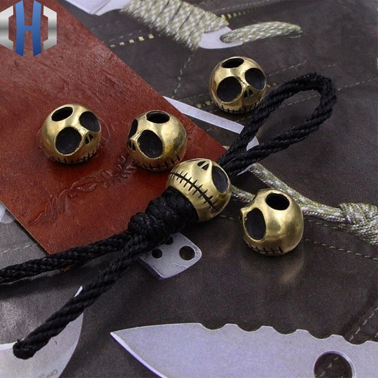 Halloween Brass Pumpkin Knife Beads Brass Personality Skull EDC Beads Skull Keychain Pendant Hanging Rope Paracord Beads 1PC