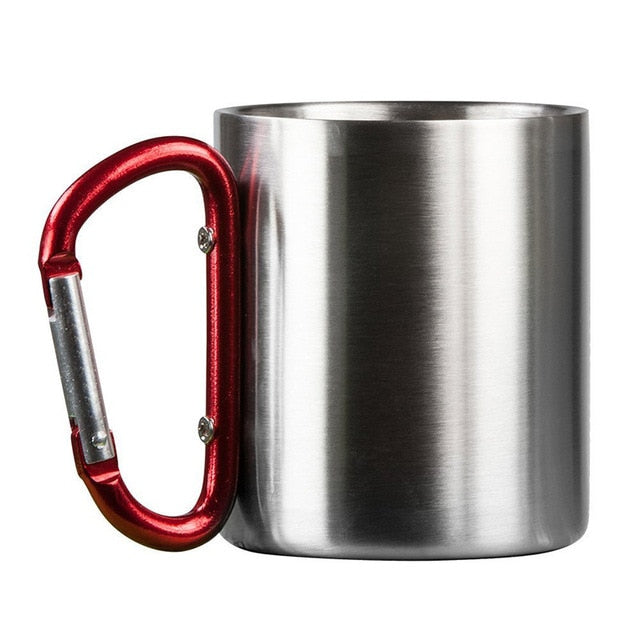 1pcs 180ml Stainless Steel Cup Camping Traveling Outdoor Cup Double Wall Mug With Carabiner Hook Handle Travel Tumbler Cup