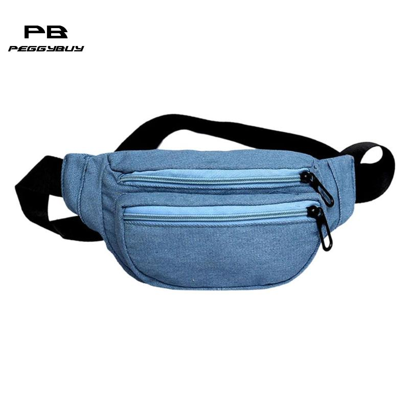 Women Girls Casual Denim Waist Pack Chest Handbags Lady Fanny Money Belt Shoulder Crossbody Bag Teen Travel Portable Purse Pouch