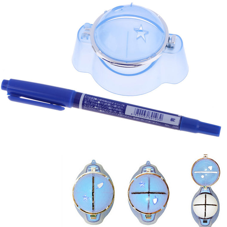 High quality Plastic Golf Ball Liner Marker Template Drawing Alignment Tool Plastic + Pen Blue Golf Training Accessories