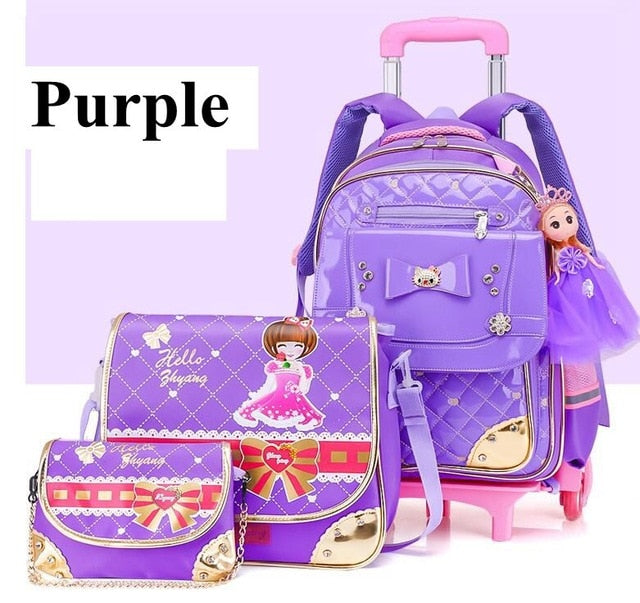 Kid's School Bag On wheels Children luggage Rolling Bags wheeled bag Backpacks for Girls Travel Trolley backpack bags for girls