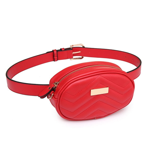FUNMARDI PU Leather Waist Bag Female New Fashion Waist Packs Trendy Women Fanny Pack Brand Belt Bag Female Shoulder Bag WLHB1744
