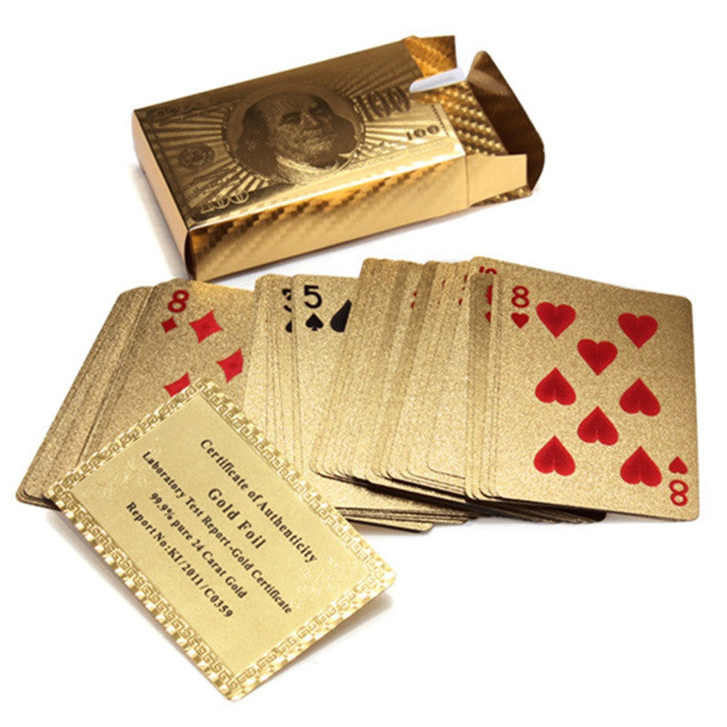 Hot Selling Pure 24 K Carat Novelty Certified Gold Foil Plated Poker Game Playing Cards w/ 52 Cards & 2 Jokers Special Gift