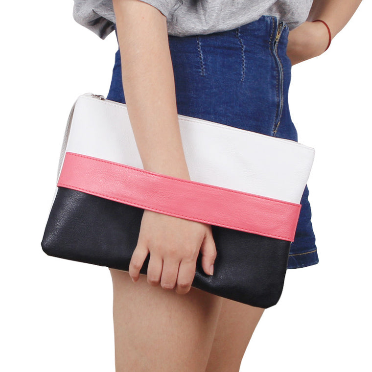 Fashion Women Handbag Solid Patchwork Lady Day Clutches New Fashion Soft Girl Zipper Packet Fashion Female Casual Bags women bag