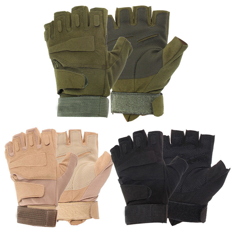Wholesale Bike Bicycle Fingerless Outdoor Military Airsoft Hunting Paintball Cycling Army Tactical Gloves New Arrival H1E1