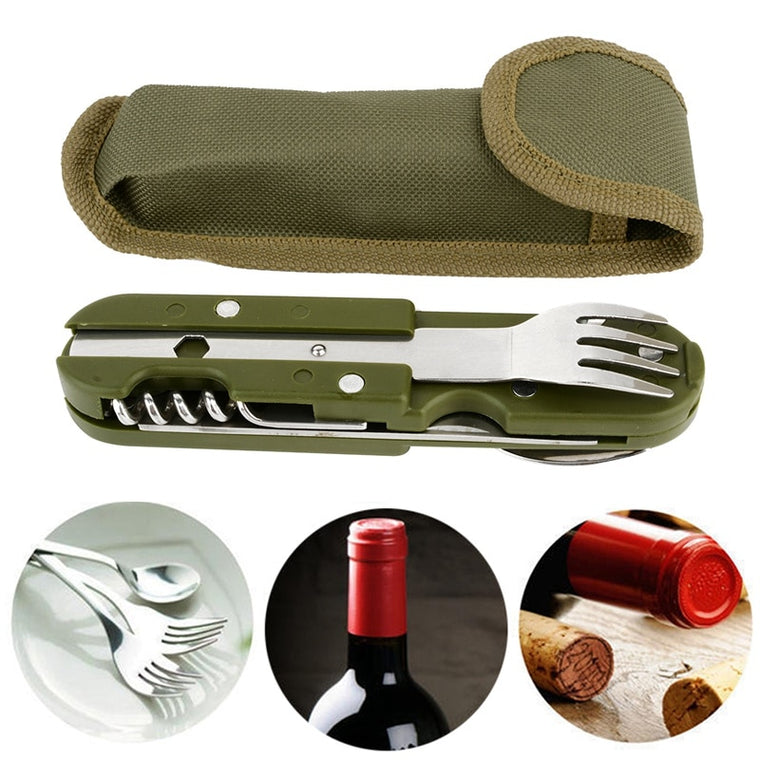 Outdoor Folding Tableware Spoon/Fork Multi Hiking Camping Utensil Reusable Picnic Gear Stainless Steel Travel Dinnerware Kit