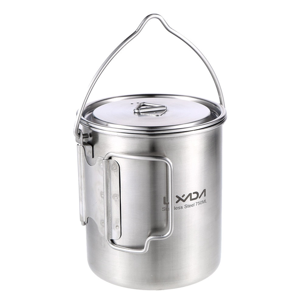 750ml Stainless Steel Pot Portable Water Mug Cup Coffee Milk Mug Foldable Handle Outdoor Camping Cooking Picnic with Lid
